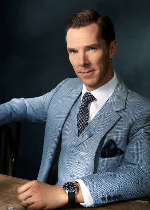 Sky-blue glen check wool, three-piece suit, bespoke MBE by Tim Everest; white cotton shirt and navy and white silk houndstooth tie, both Emma Willis; navy silk pocket handkerchief, Thom Sweeney. Jaeger-LeCoultre Polaris Memovox timepiece in stainless steel with a black rubber strap.