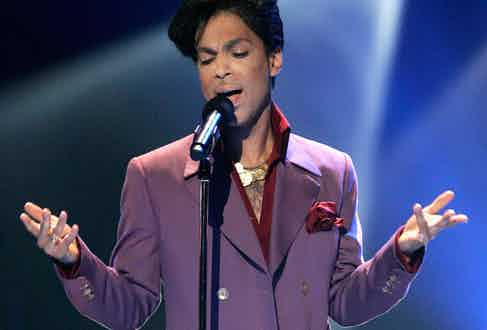 Prince's signature colour was purple, and he had an array of suits in the colour. Photograph by Getty Images.