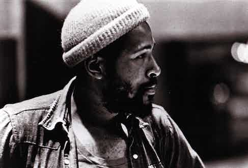 A portrait of Gaye whilst recording at Golden West Studios in Los Angeles, 1973. Photograph by Gilles Petard/Redferns.