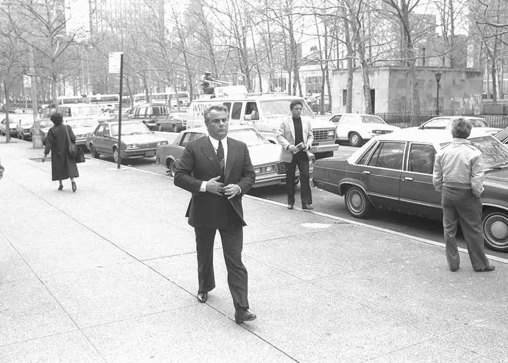 John Gotti arriving at the Brooklyn Federal Court, somewhere he'd become very familiar with (Getty).