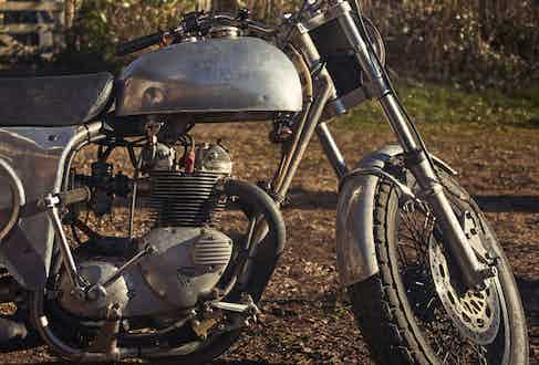 This is Nick's custom 1970s Triumph Flat Tracker. It was built by the legendary Eric Cheney, who was Steve McQueen's personal bike builder and one of the finest frame engineers of the 20th century.