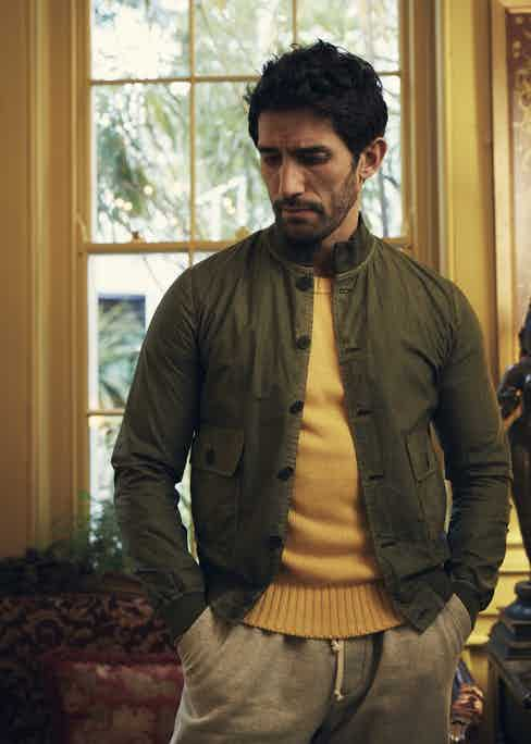 Wasabi green cotton jacket, Valstar; yellow cotton crewneck, Anderson & Sheppard. Styling by Jo Grzeszczuk, photograph by Olivier Barjolle.
