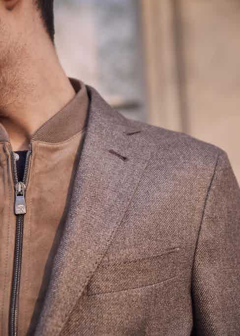 Corneliani's ID jacket in silk and cashmere comes with a detachable vest. Photo by James Munro.