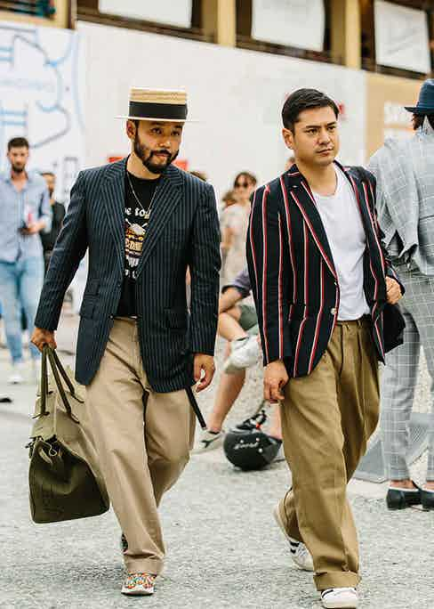 Relaxed tailoring in the form of separates makes for an eclectic ensemble with sneakers