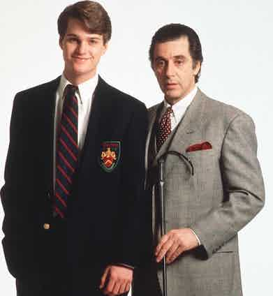 While Pacino is dressed in a three-piece suit, throughout the film O'Donnell wears preppy staples, such as button-down shirts, collegiate ties and blazers.