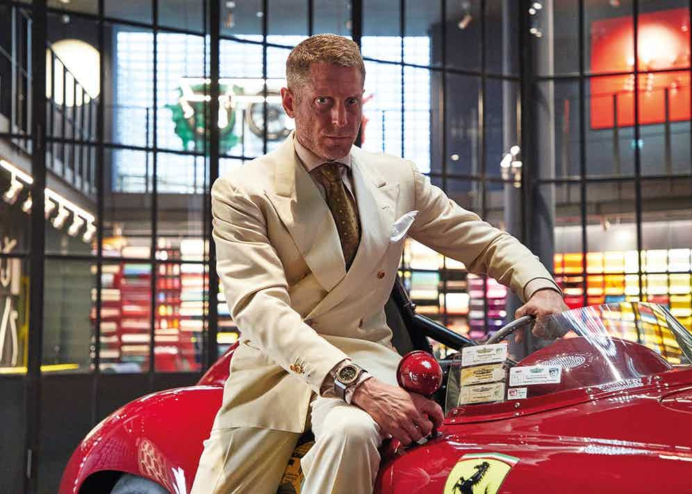 The living rake ne plus ultra and founder of Italia Independent, Lapo Elkann, at the Garage Italia in Milan. Photo by James Munro.
