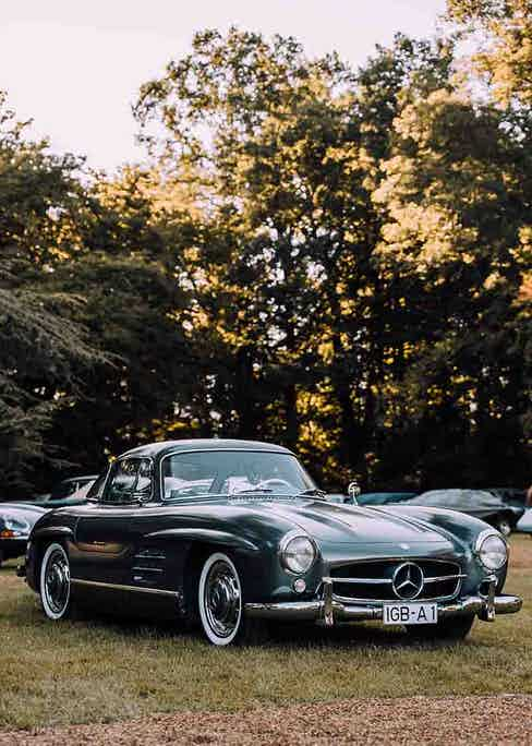 A classic Mercedes with gull-wing doors at the Concours d'Elegance