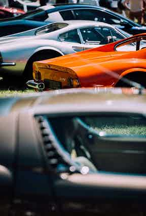 A gleaming, colourful selection of restored and original classic cars.
