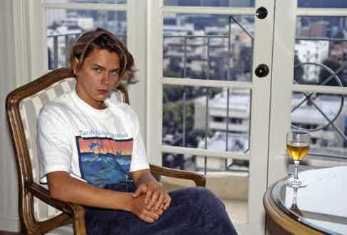 Phoenix's passion for animal rights infiltrated his wardrobe, 1988. Photograph by Elisa Leonelli/REX/Shutterstock.