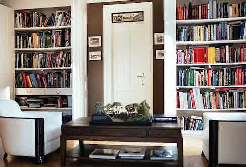 Simon's impressive collection of books.