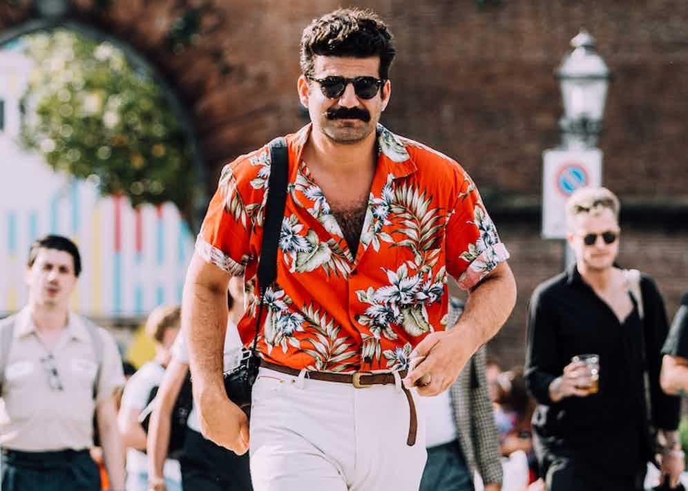 Milad Abedi, on the front line of streetstyle photographer at Pitti Uomo 94, and purveyor of the greatest moustache-Hawaiian shirt combo since Tom Selleck was playing a private investigator.