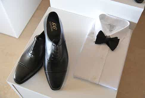 G.J. Cleverley's dress shoes and Anderson & Sheppard's evening wear is a combination made in formalwear heaven.