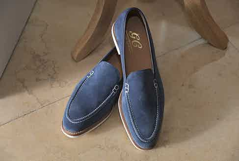 Cleverley's exquisite blue suede loafers are the perfect smart casual summer shoe.