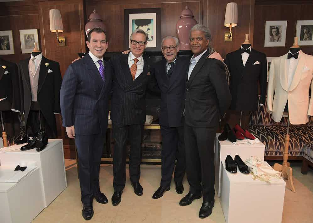 Messrs Cleverley Sr and Jr joined by director Paul Feig and the film critic Elvis Mitchell. (Charley Gallay/Getty Images for George Cleverley)