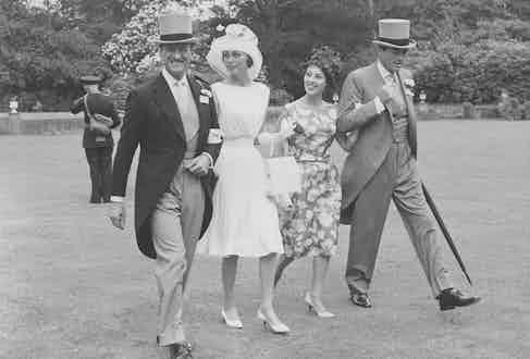 David Niven, Hjordis Paulina Tersmeden, Veronique Peck and Gregory Peck at Royal Ascot, circa 1960s.