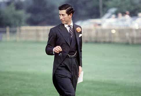 The Prince of Wales in a dark grey three-piece morning suit.