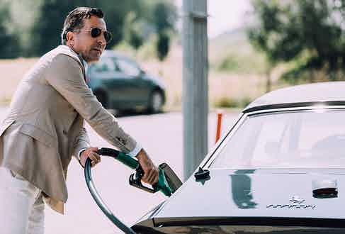 Style never sleeps, even when you're filling up at the gas station: Alexander Kraft pictured here in a doubled-breasted cashmere blazer by Lardini.