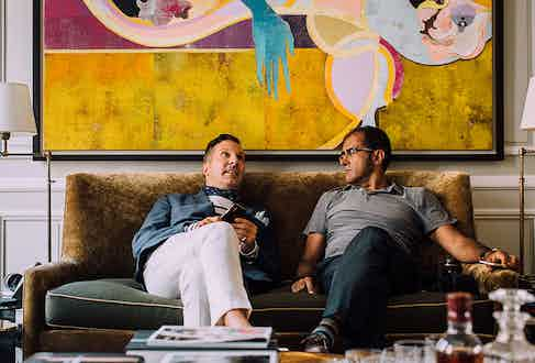 Alexander Kraft and Afshin Behnia, founder of the Petrolicious blog, take in the delights of a Sotheby's Left Bank apartment.