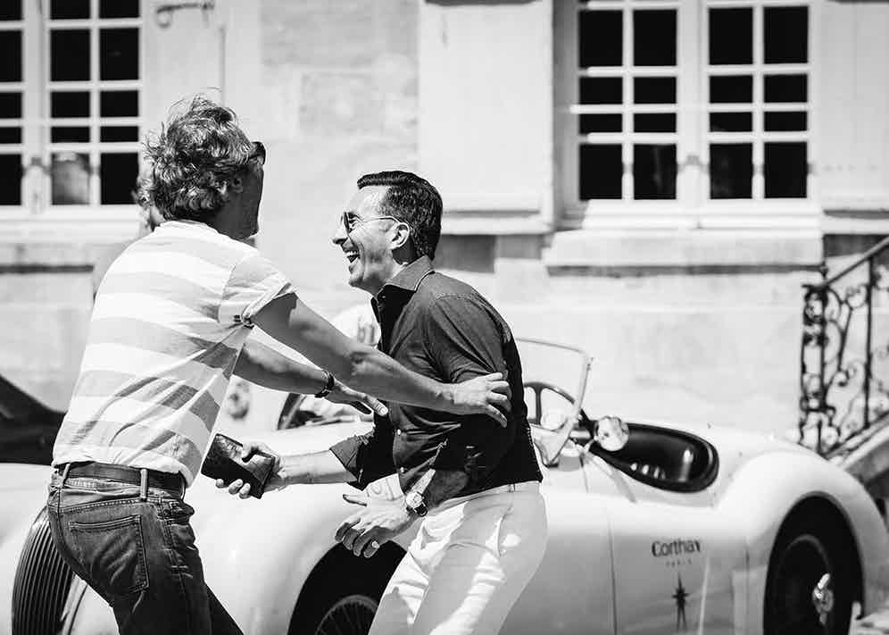 Francois Pourcher and Alexander Kraft (probably) fight it out for the last glass of champagne.