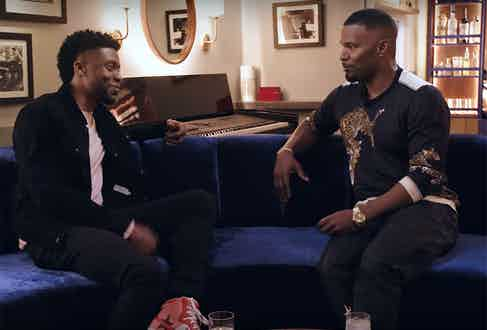 Chadwick Boseman, most recently star of the Marvel epic Black Panther chats with Foxx on set of Off Script Grey Goose.