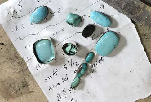 A selection of turquoise stones, all of which have their own unique character.