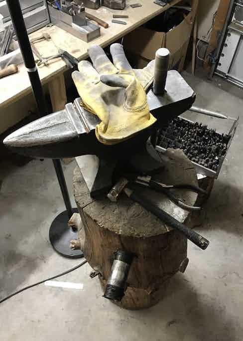 Mike's trusted and unassuming anvil in his garage.