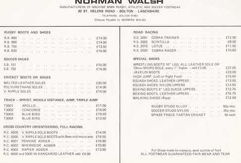 How times have changed when it comes to the cost of footwear. Image from circa 1960 and courtesy of Walsh's archive.