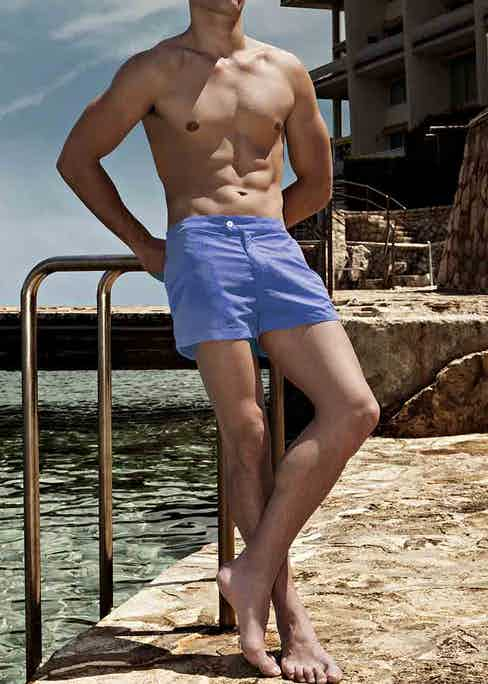 The perfect pair of blue Coast Society swimshorts on the perfect sunny day by the waves.