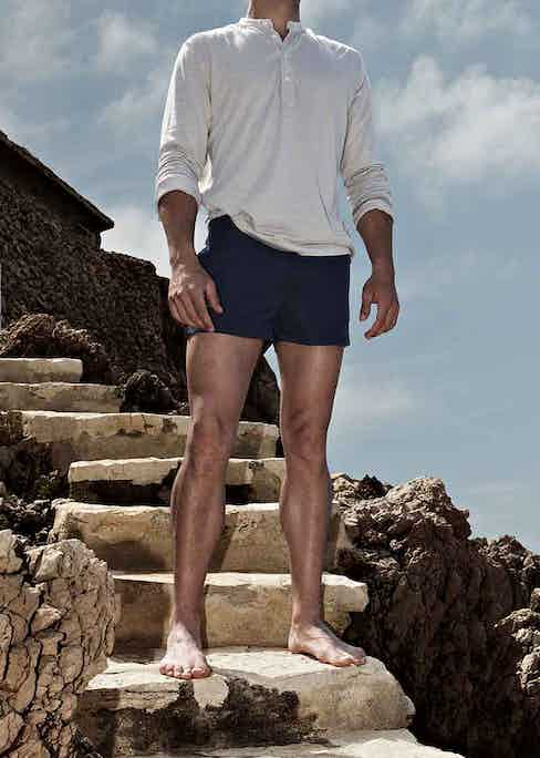 Navy swimshorts by Coast Society are perfect for pairing with a white shirt.