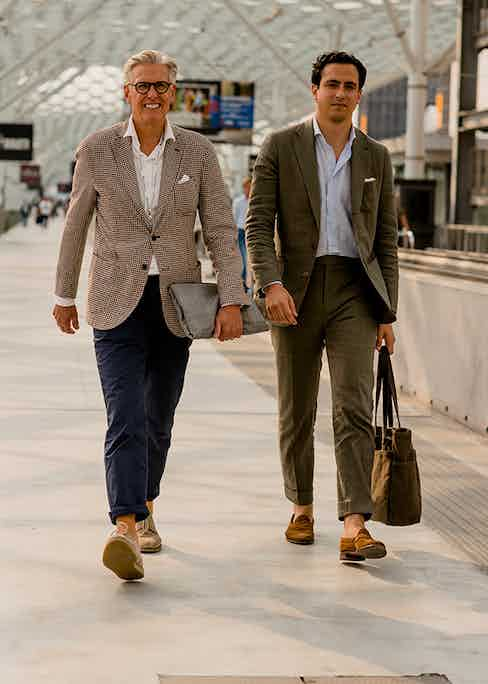 Navy cotton chinos are the perfect stage for a casual roll-up, while the more structured formality of the green linen suit  calls for a 2in turn-up.