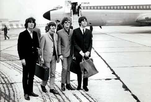 The Beatles arriving in New York City, 1964. Photograph courtesy of Alamy.