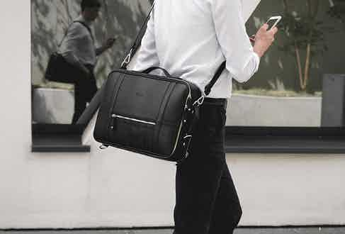 A sleek black Temporary Forevers bag will complement your monochrome looks.