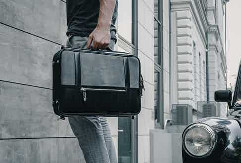 Crafted with architectural precision,, a bag from Temporary Forevers will blend seamlessly into the urban landscape.