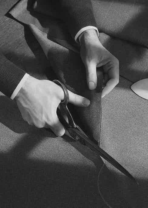 Fabric is cut by skilled hands in William & Son's workshops. Image courtesy of William & Son.