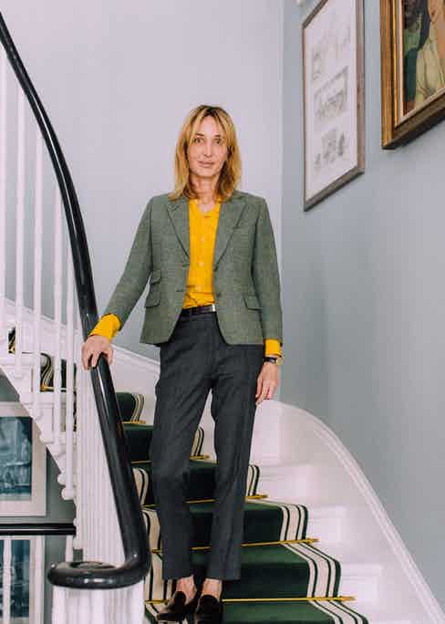 """French house Céline knows how to create a flattering trouser, which is precisely why Anda has pairs in a range of cut, colour and fabric. """"It has a tiny little pocket at the waist, which is very inspired by menswear, as well as a permanent crease."""""""