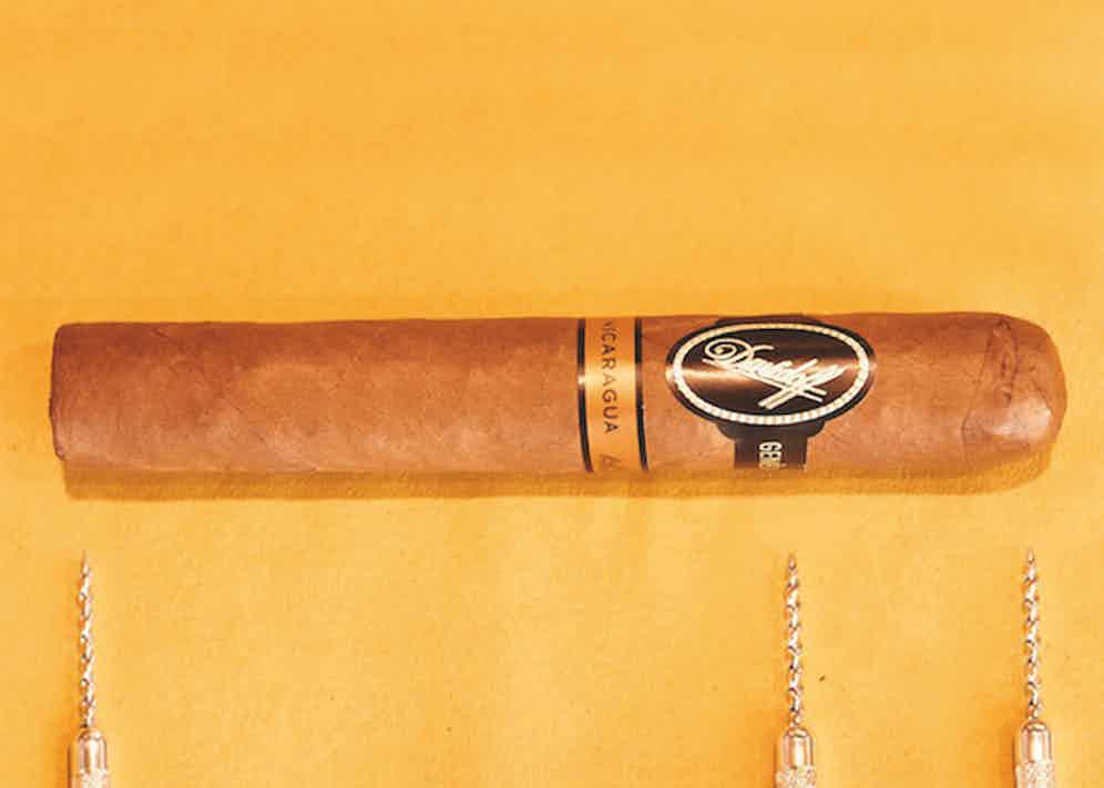 From left to right; the foot, band and head of a cigar.