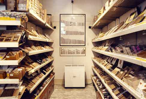 The walk-in humidor room inside Davidoff of London, where there's an estimated 20,000 cigars.