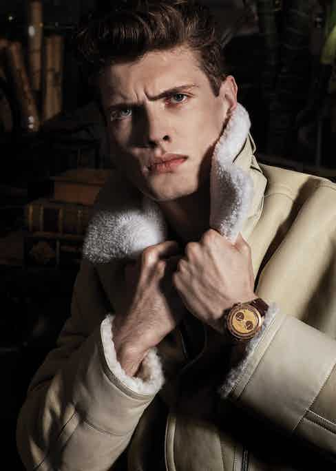 """Bellytanker """"El Mirage"""" Chronograph, Bell & Ross X The Rake and Revolution; ivory suede shearling coat, Hermès."""