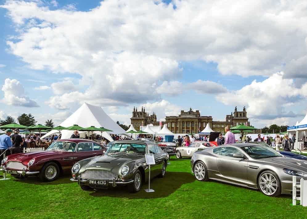 Three stunning and immaculately-polished Aston Martins residing on the south lawn of Blenheim Palace.