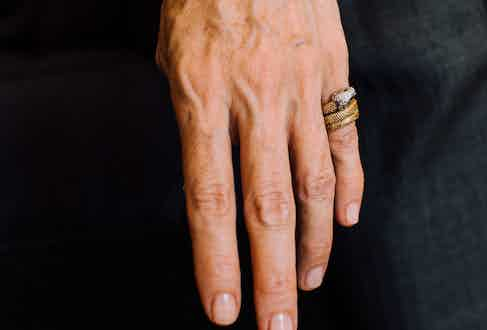 Anda wears this Cartier snake ring, which she picked up second-hand from 21st Century Jewels in London, almost every day. It has a diamond head and emerald eyes.