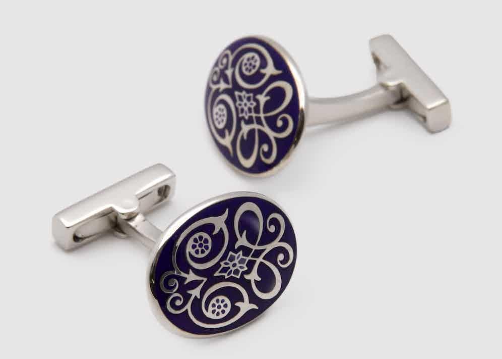 Codis Maya's 'Scroll' cufflinks in Opaque periwinkle blue enamel.