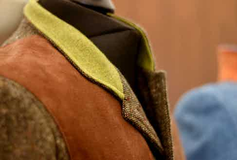 Lucan's Norfolk jackets have suede shooting patches with removable internal recoil pads.