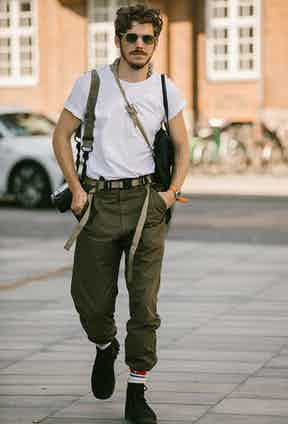 Photographer and Rake contributor Robert Spangle rocking a military-inspired look he has made all his own.