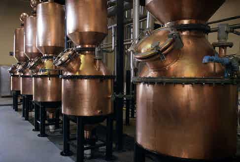 Copper distillers inside the Patrón factory in Atotonilco El Alto, Jalisco.