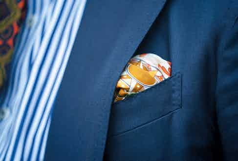 """This pocket-square was purchased from Rubinacci in Milan during another trip to Italy, crafted from silk and featuring an old nautical chart. """"I was fortunate to meet Luca Rubinacci there, who was as jovial as he is on Instagram,"""" says Palmer."""