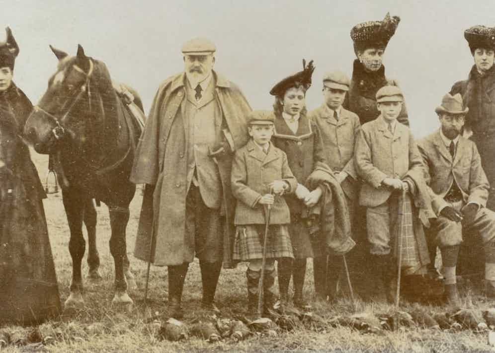 King Edward VII with members of the royal family during a pheasant shoot at Sandringham, circa 1909.