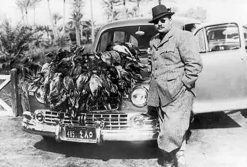 King Farouk of Egypt on a hunt, circa 1940.