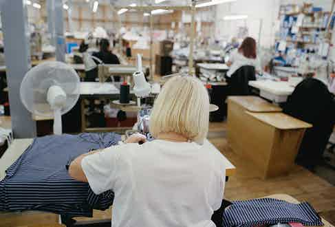Sunspel owns its factory in Long Eaton, allowing the team to stay close to the manufacturing process and fabric development.