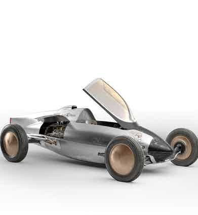 A miniature model of the belly tank racer.