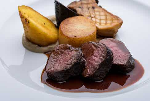 The main course: roasted venison smoked with woodchips from the casks in the cooperage.